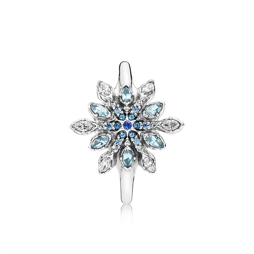 23876da74 Pandora Crystalized Snowflake Ring, Blue Crystals & Clear CZ 190969NBLMX