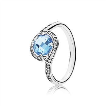 485eb8e39 Pandora Radiant Embellishment Ring, Sky-Blue Crystal & Clear CZ 190968NBS
