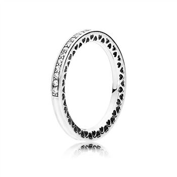 Pandora Radiant Hearts of PANDORA Ring, Silver Enamel & Clear CZ 191011CZ